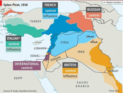 https://ikizkare.com/Sykes-Picot Antlaşmasına Göre Osmanlı Devleti Haritası 1916